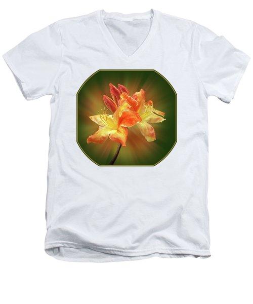 Sunburst Orange Azalea Men's V-Neck T-Shirt by Gill Billington