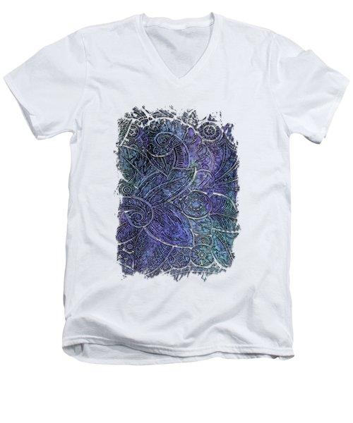 Swan Dance Berry Blues 3 Dimensional Men's V-Neck T-Shirt by Di Designs