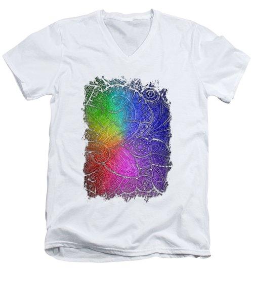Swan Dance Cool Rainbow 3 Dimensional Men's V-Neck T-Shirt by Di Designs