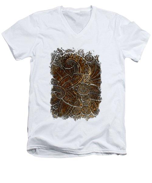 Swan Dance Earthy 3 Dimensional Men's V-Neck T-Shirt by Di Designs