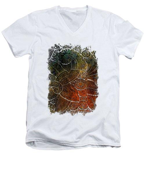 Swan Dance Earthy Rainbow 3 Dimensional Men's V-Neck T-Shirt by Di Designs