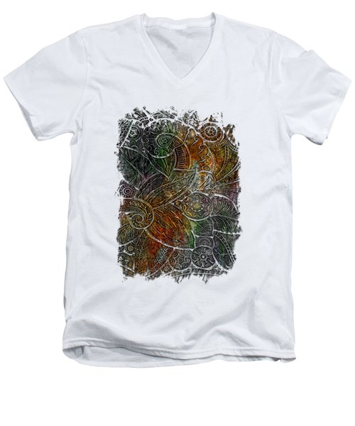 Swan Dance Muted Rainbow 3 Dimensional Men's V-Neck T-Shirt by Di Designs