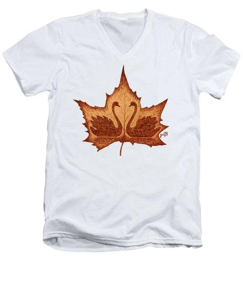 Swans Love On Maple Leaf Original Coffee Painting Men's V-Neck T-Shirt by Georgeta Blanaru