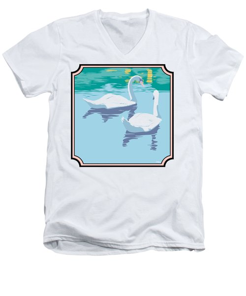 Swans On The Lake And Reflections Absract - Square Format Men's V-Neck T-Shirt by Walt Curlee