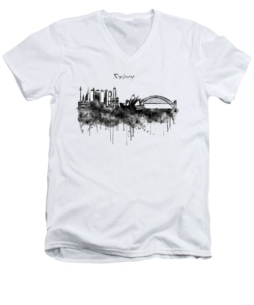 Sydney Black And White Watercolor Skyline Men's V-Neck T-Shirt by Marian Voicu