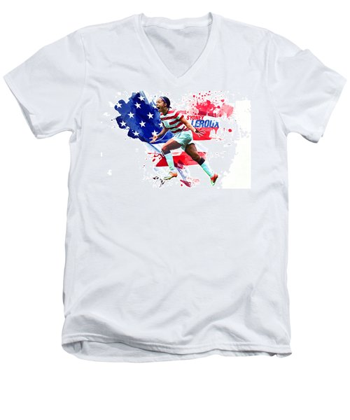 Sydney Leroux Men's V-Neck T-Shirt by Semih Yurdabak
