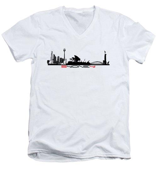 Sydney Skyline Black Men's V-Neck T-Shirt by Justyna JBJart