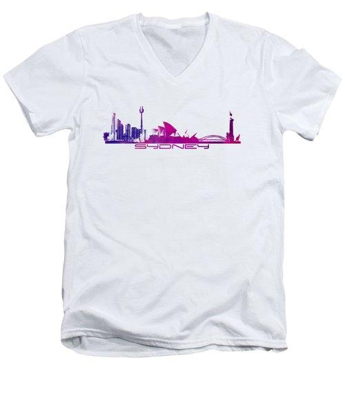 Sydney Skyline Purple Men's V-Neck T-Shirt by Justyna JBJart