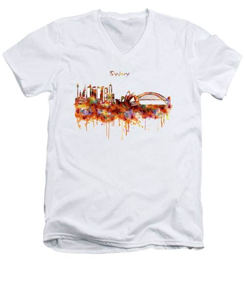 Sydney Watercolor Skyline Men's V-Neck T-Shirt by Marian Voicu