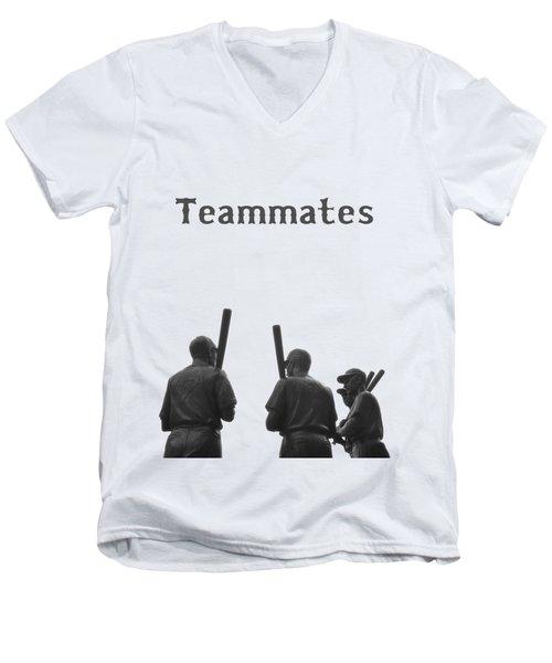 Teammates Poster - Boston Red Sox Men's V-Neck T-Shirt by Joann Vitali
