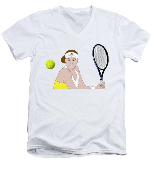 Tennis Ball Focus Men's V-Neck T-Shirt by Priscilla Wolfe