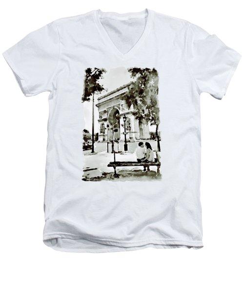 The Arc De Triomphe Paris Black And White Men's V-Neck T-Shirt by Marian Voicu