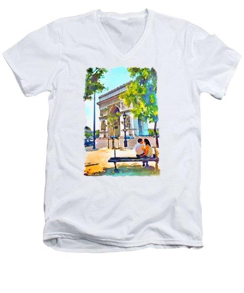 The Arc De Triomphe Paris Men's V-Neck T-Shirt by Marian Voicu