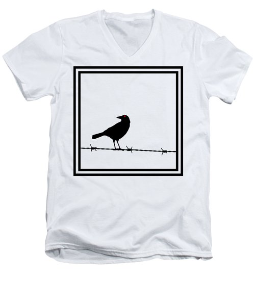 The Black Crow Knows T-shirt Men's V-Neck T-Shirt by Edward Fielding