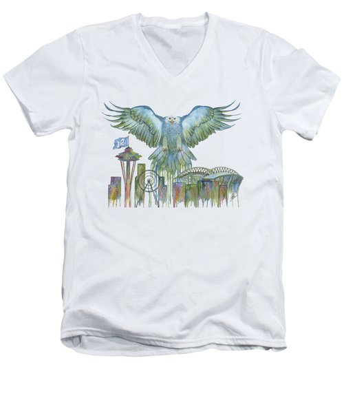 The Blue And Green Overlay Men's V-Neck T-Shirt by Julie Senf