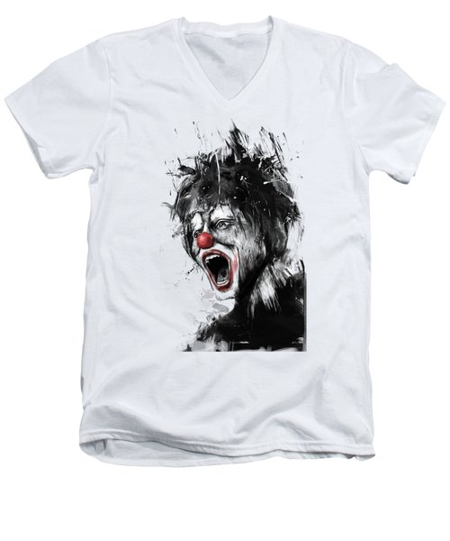 The Clown Men's V-Neck T-Shirt by Balazs Solti