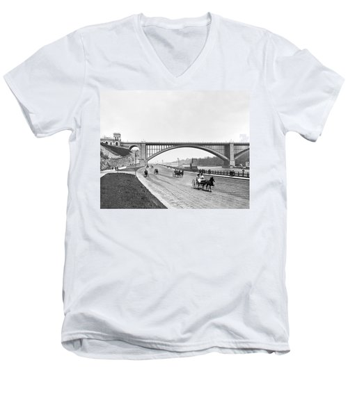 The Harlem River Speedway Men's V-Neck T-Shirt by William Henry jackson