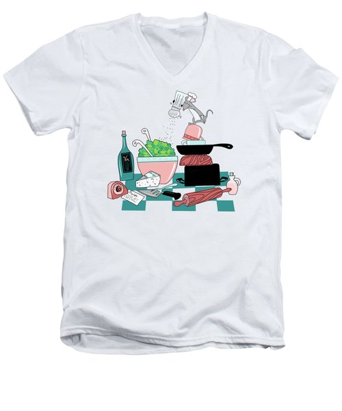 The Hungry Mouse Men's V-Neck T-Shirt by Little Bunny Sunshine