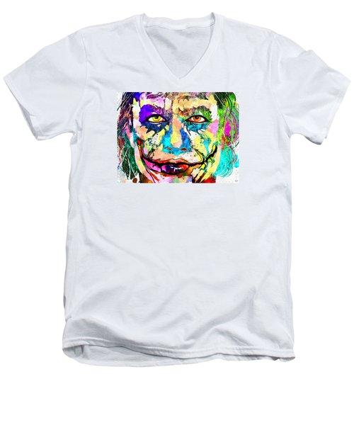 The Joker Grunge Men's V-Neck T-Shirt by Daniel Janda