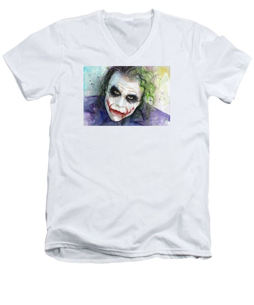 The Joker Watercolor Men's V-Neck T-Shirt by Olga Shvartsur