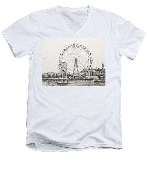 The London Eye Men's V-Neck T-Shirt by Vincent Alexander Booth