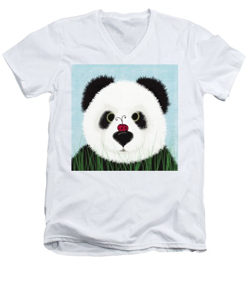 The Panda And His Visitor  Men's V-Neck T-Shirt by Michelle Brenmark