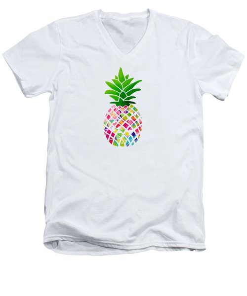 The Pineapple Men's V-Neck T-Shirt by Maddie Koerber