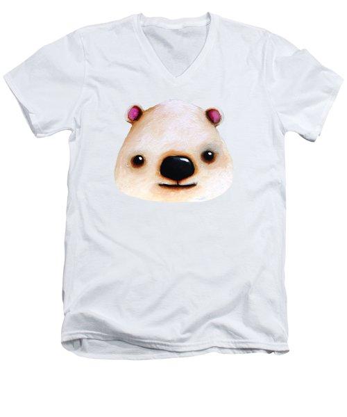The Polar Bear Men's V-Neck T-Shirt by Lucia Stewart
