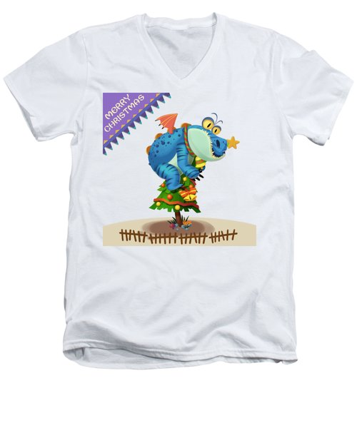 The Sloth Dragon Monster Comes To Wish You Merry Christmas Men's V-Neck T-Shirt by Next Mars