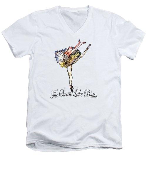 The Swan Lake Ballet Men's V-Neck T-Shirt by Marie Loh