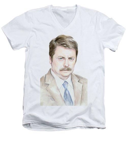 Ron Swanson Watercolor Portrait Men's V-Neck T-Shirt by Olga Shvartsur