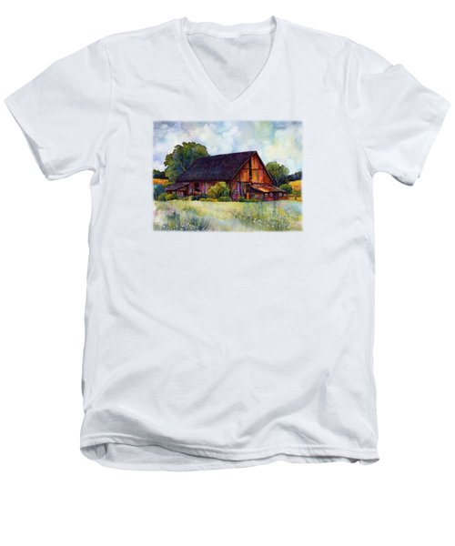 This Old Barn Men's V-Neck T-Shirt by Hailey E Herrera