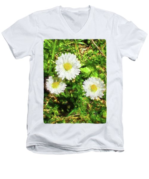 Three Daisies In The Sun Men's V-Neck T-Shirt by Jackie VanO