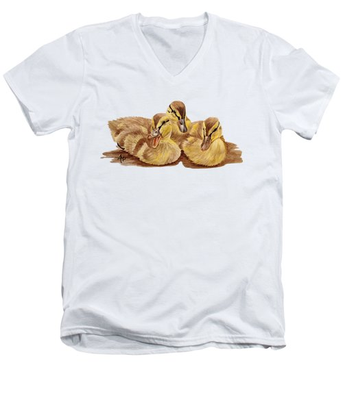 Three Ducklings Men's V-Neck T-Shirt by Angeles M Pomata