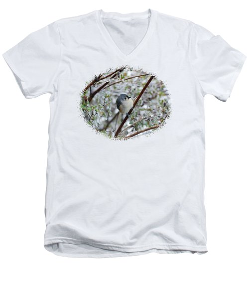 Titmouse On Snowy Branch Men's V-Neck T-Shirt by Larry Bishop