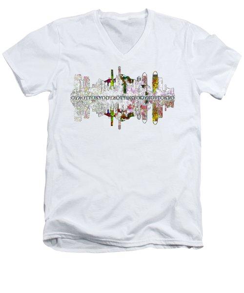 Tokyo Skyline On White Men's V-Neck T-Shirt by John Groves