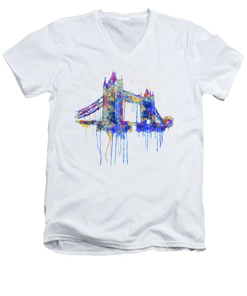 Tower Bridge Watercolor Men's V-Neck T-Shirt by Marian Voicu