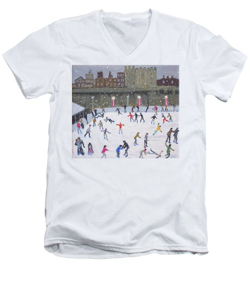 Tower Of London Ice Rink Men's V-Neck T-Shirt by Andrew Macara