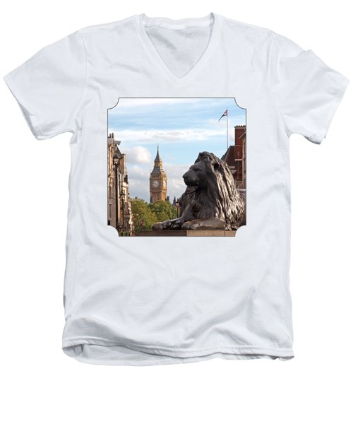 Trafalgar Square Lion With Big Ben Men's V-Neck T-Shirt by Gill Billington