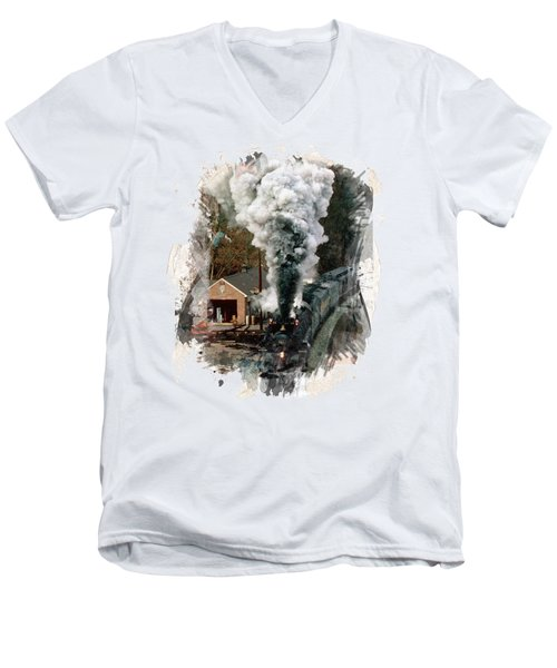 Train Days Men's V-Neck T-Shirt by Florentina Maria Popescu