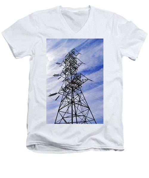 Transmission Tower No. 1 Men's V-Neck T-Shirt by Sandy Taylor