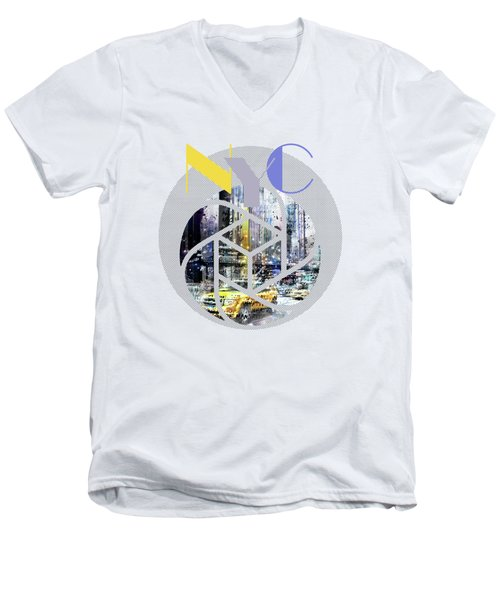Trendy Design New York City Geometric Mix No 3 Men's V-Neck T-Shirt by Melanie Viola
