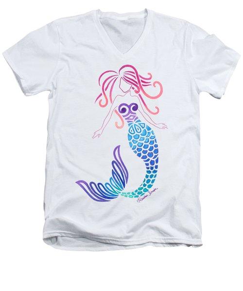 Tribal Mermaid Men's V-Neck T-Shirt by Heather Schaefer