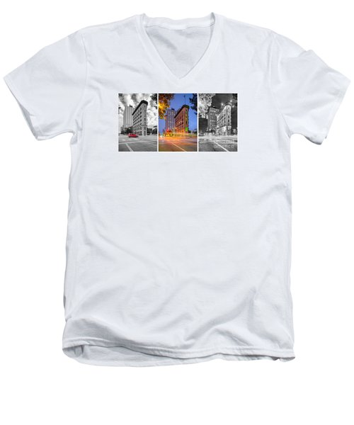 Triptych Of The Flatiron Building In Downtown Fort Worth - Texas  Men's V-Neck T-Shirt by Silvio Ligutti