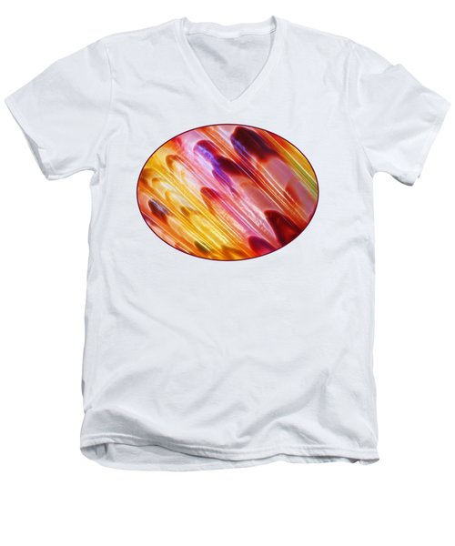 Triton Seashell Multicolor Abstract Men's V-Neck T-Shirt by Gill Billington