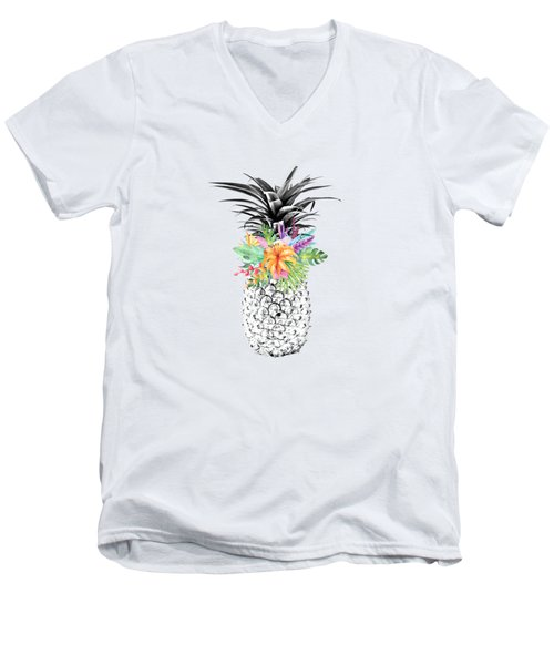 Tropical Flower Pineapple Coral Men's V-Neck T-Shirt by Dushi Designs