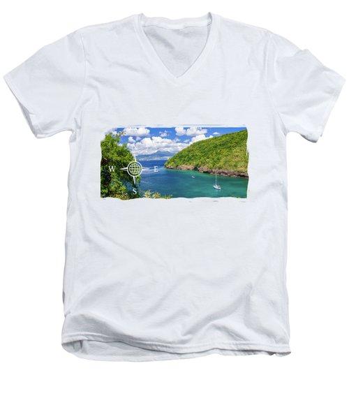 Tropical Lagoon Men's V-Neck T-Shirt by Konstantin Sevostyanov