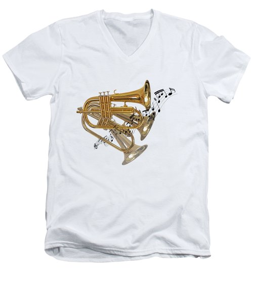 Trumpet Fanfare Men's V-Neck T-Shirt by Gill Billington