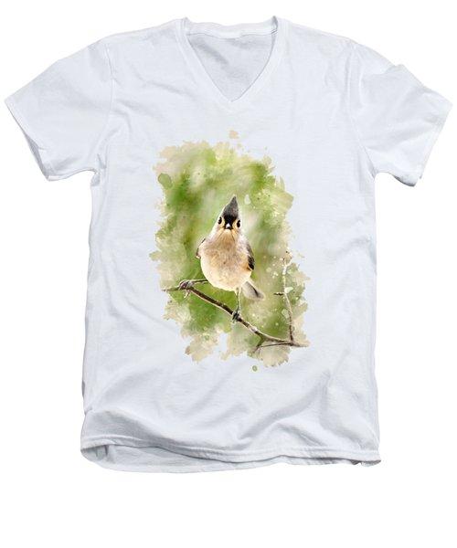 Tufted Titmouse - Watercolor Art Men's V-Neck T-Shirt by Christina Rollo