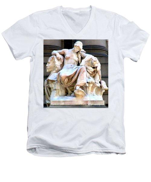 U S Custom House 3 Men's V-Neck T-Shirt by Randall Weidner